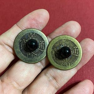 🖤Vintage Chinese coin & Onyx earrings